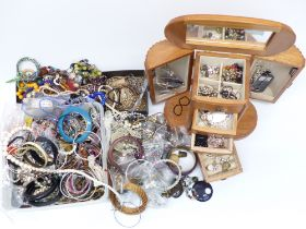 A collection of costume jewellery including diamanté, 9ct gold earrings, necklaces, etc