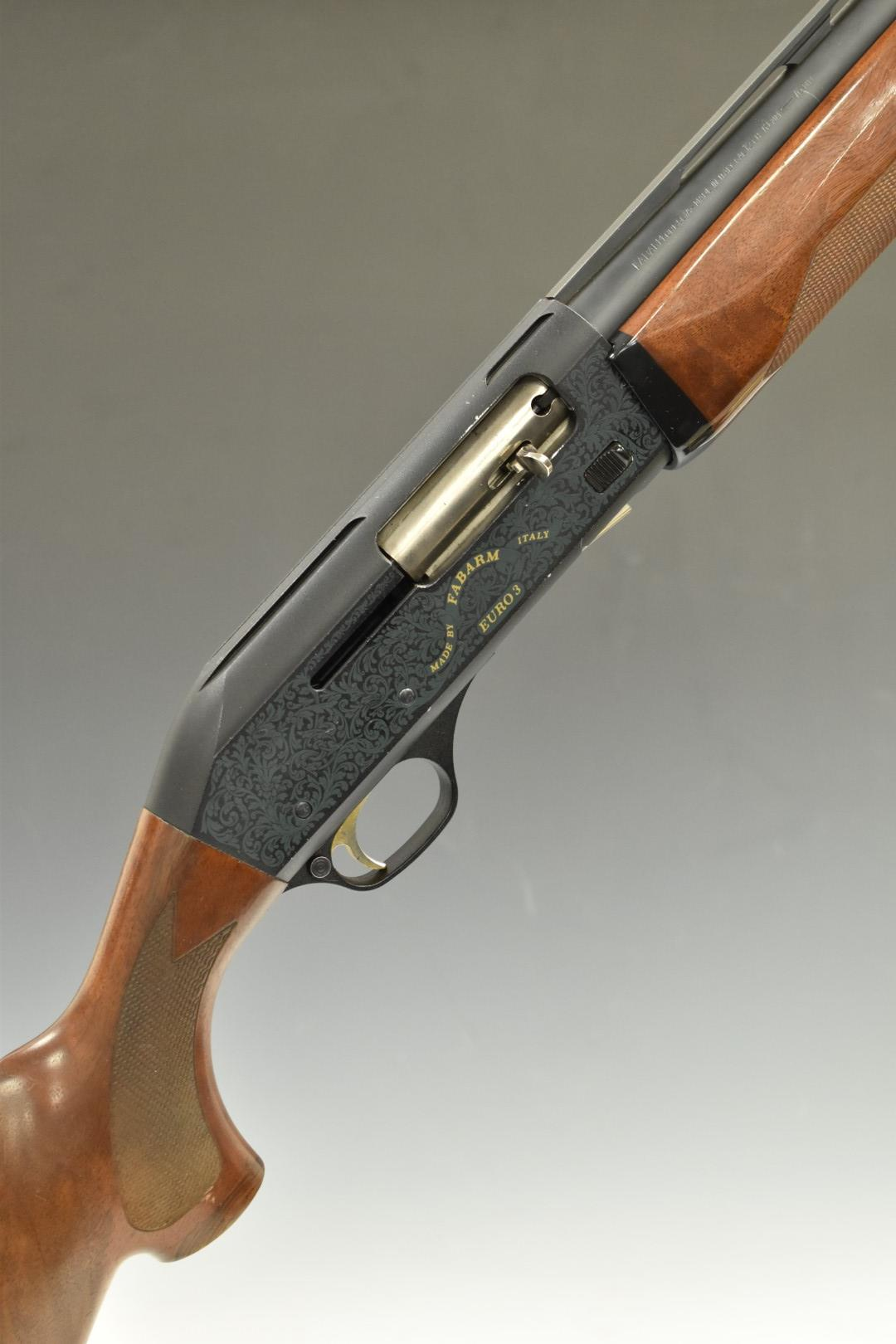 Fabarm Euro 3 12 bore semi-automatic shotgun with ornate detail and gold naming to the lock,