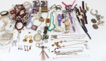 A collection of costume jewellery including watches, rings, Miracle pendants, necklace including