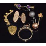 A 9ct gold mount, 9ct gold cufflink (3.3g) a yellow metal slider, fly brooch, etc