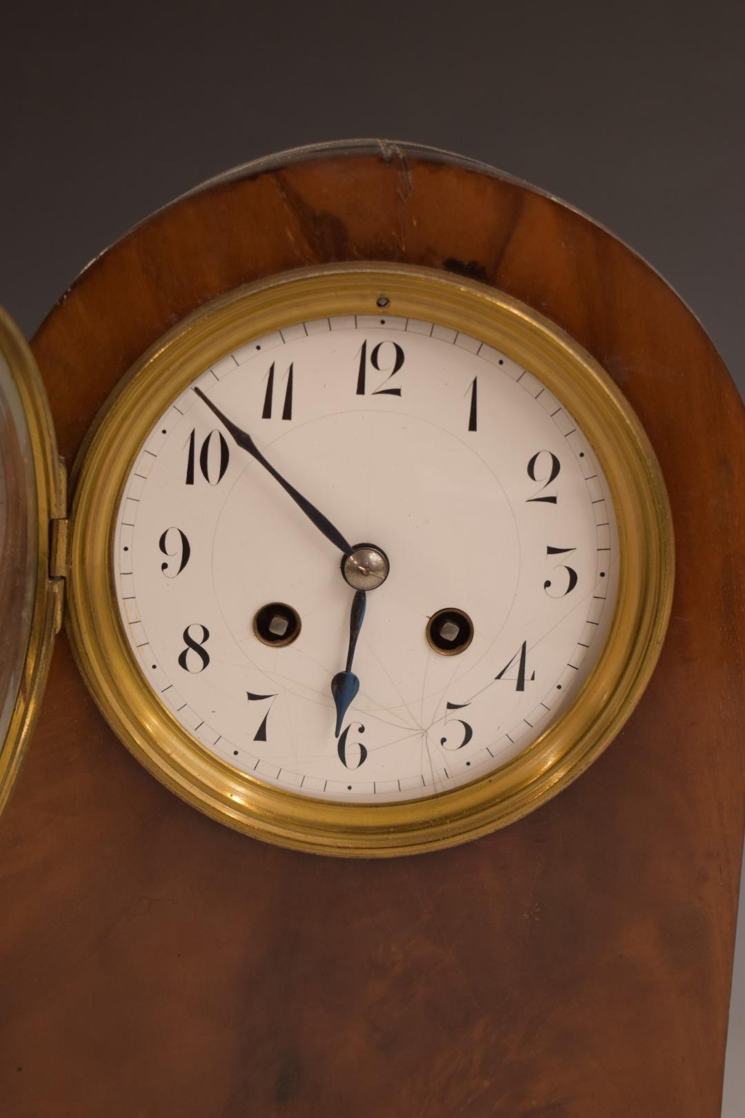 A c1900 mahogany carved arch top mantel clock, the anonymous two train movement stamped 3000, 52, - Image 2 of 5