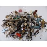 A collection of costume jewellery including silver earrings, silver ring, watches, necklaces, etc