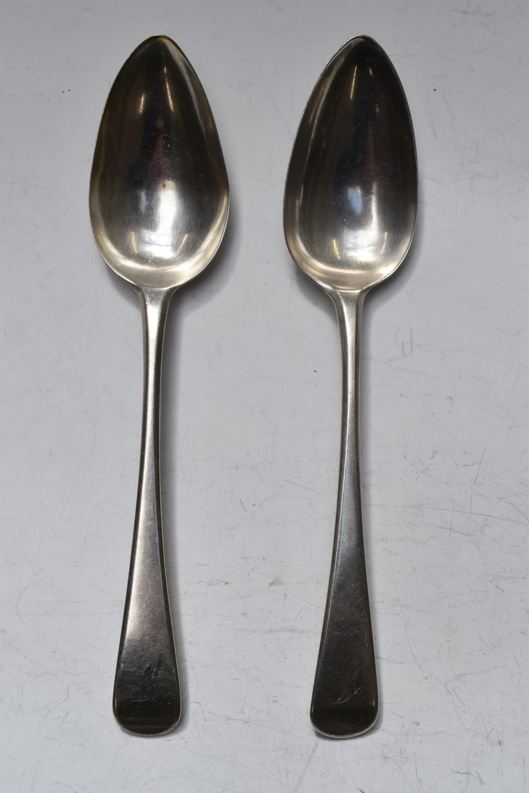 Pair of George III hallmarked silver Old English pattern table spoons, London 1702, maker Thomas