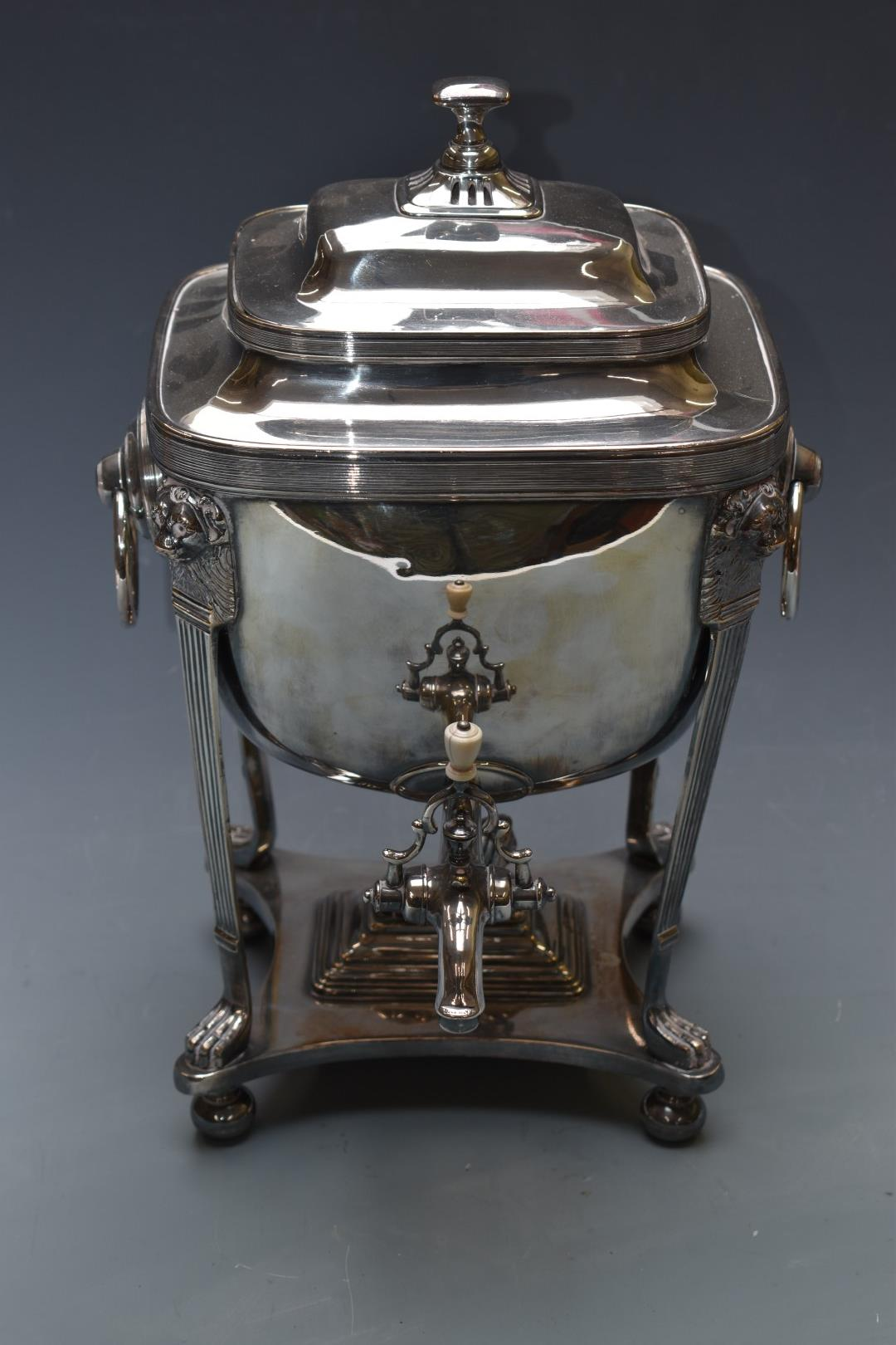 19thC silver plated samovar of classical form, with lions mask and paw supports, H41cm