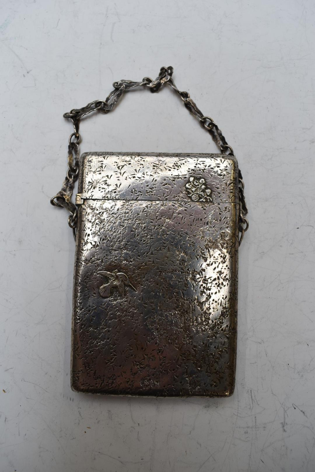 Gorham American white metal card case decorated with birds, with Gorham silver marks, stamped - Image 2 of 3