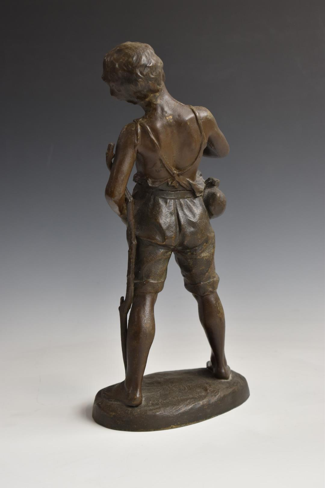 Pair of spelter figures of boys, one with books, the other with a horn, H33cm - Image 3 of 6