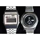 Two Seiko gentleman's wristwatches, 5 automatic ref. 6119-8610 with day and date aperture,