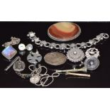 A collection of Victorian silver jewellery including bracelet, brooch depicting a swallow (