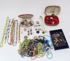 A collection of costume jewellery including Miracle brooch, scarab beetle necklace, silver brooch,