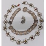 Art Nouveau silver plated belt, another silver plated belt set with agate and a silver brooch in the