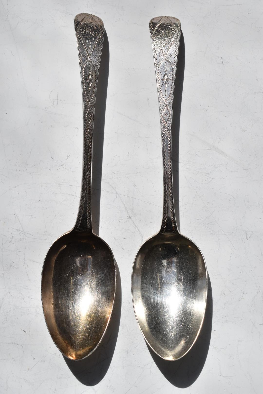 Pair of Georgian bright cut hallmarked silver table spoons, London 1791, makerGeorge Gray, length