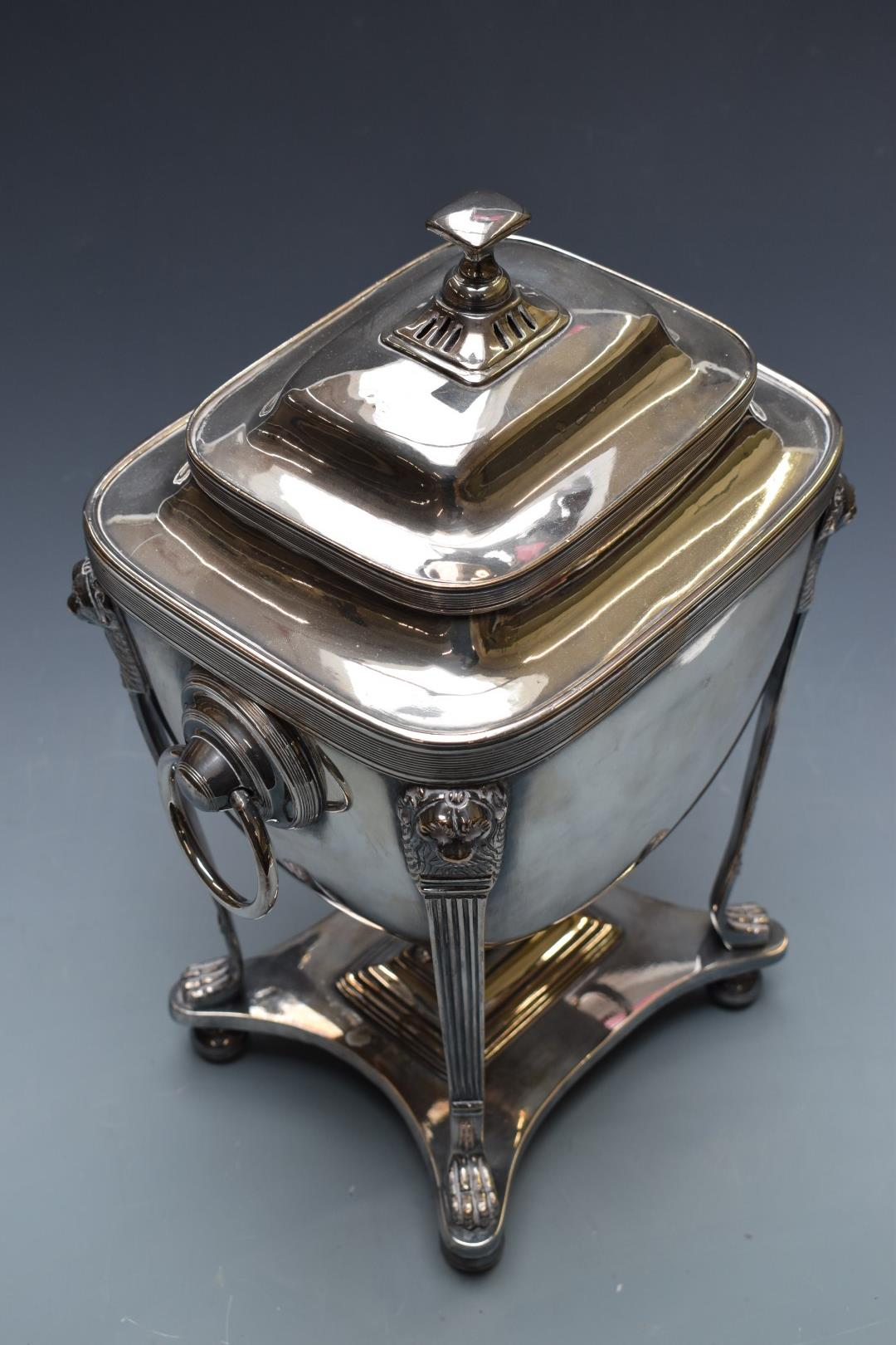 19thC silver plated samovar of classical form, with lions mask and paw supports, H41cm - Image 3 of 4