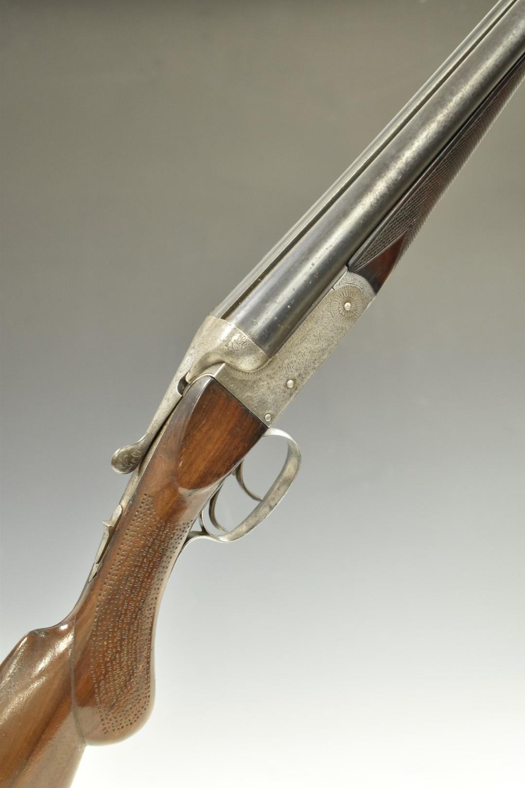 Herbert E Pollard & Co of Worcester 16 bore side by side shotgun with scrolling engraving to the