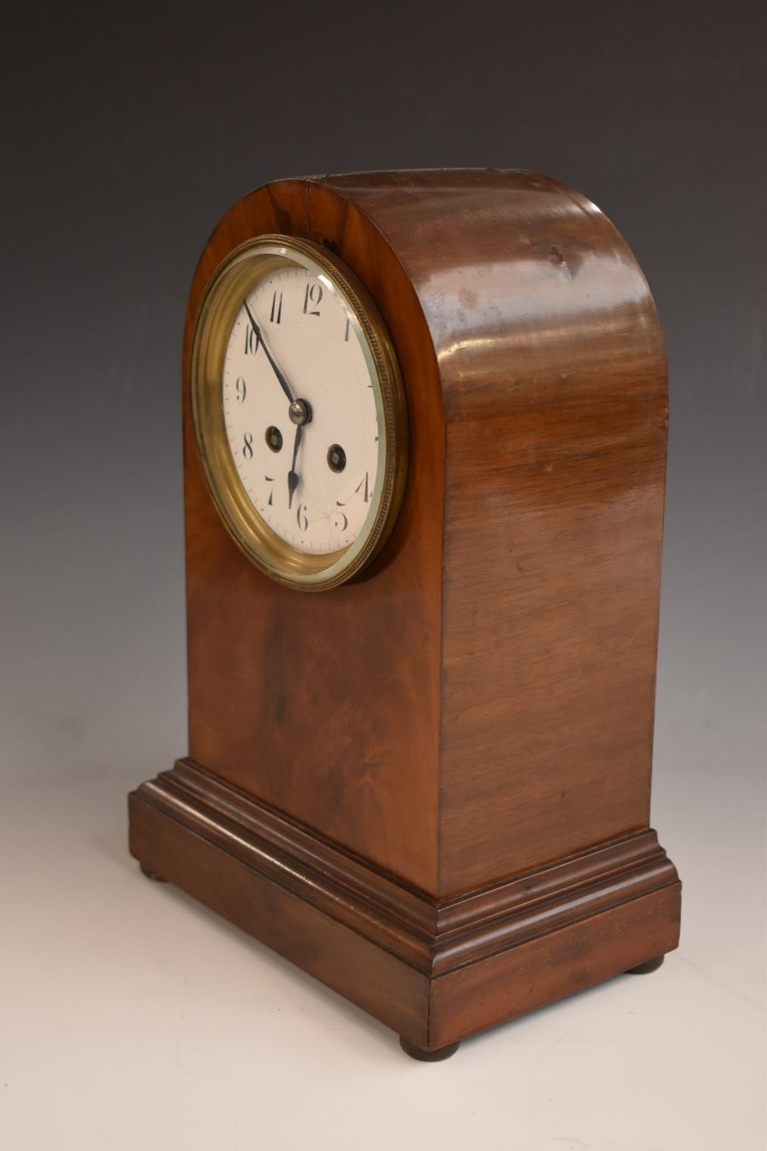 A c1900 mahogany carved arch top mantel clock, the anonymous two train movement stamped 3000, 52, - Image 3 of 5