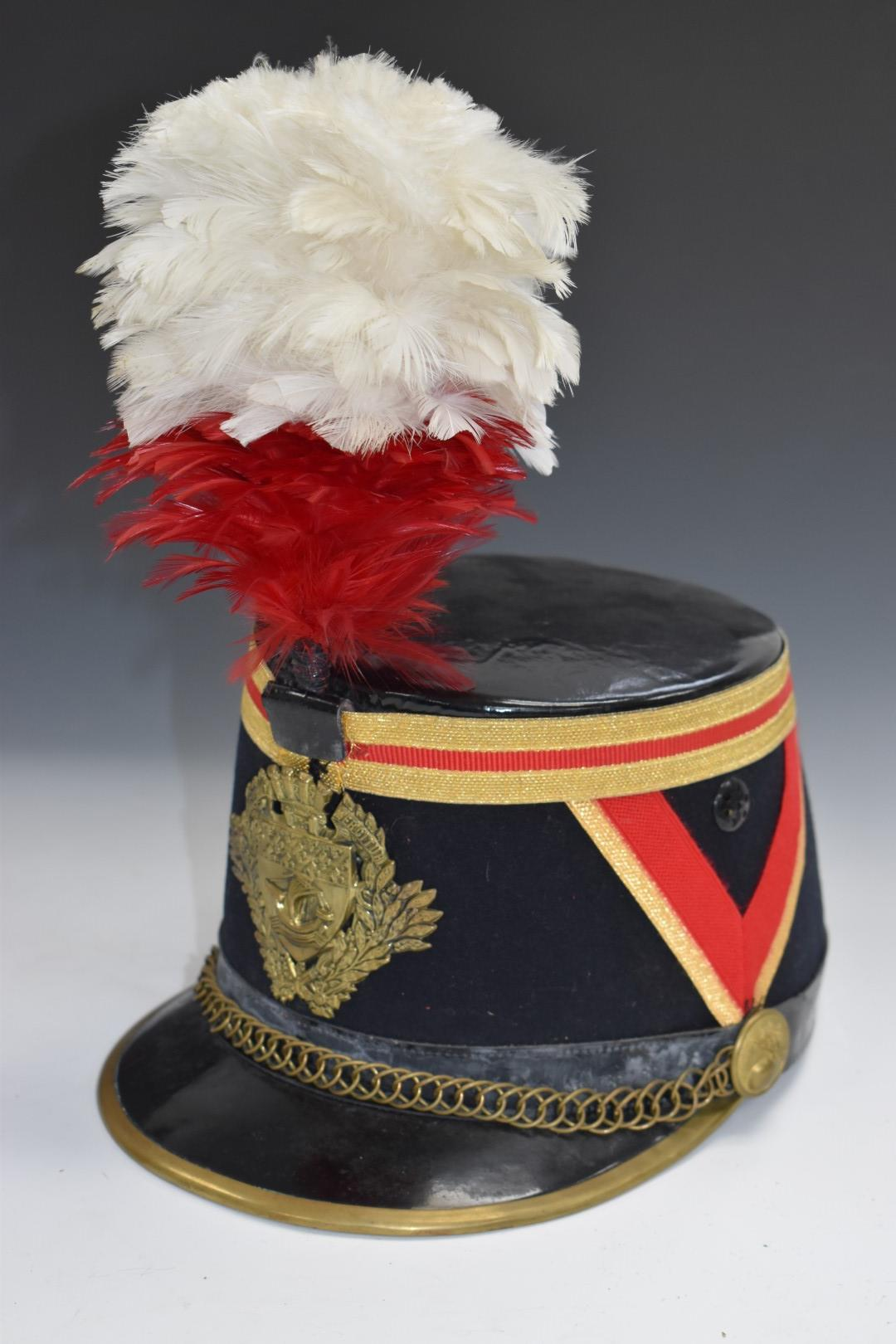 French fireman's parade hat with Paris coat of arms to front and feather plume above