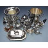 Silver plated ware including two champagne buckets (height of taller 26cm), two cocktail shakers,