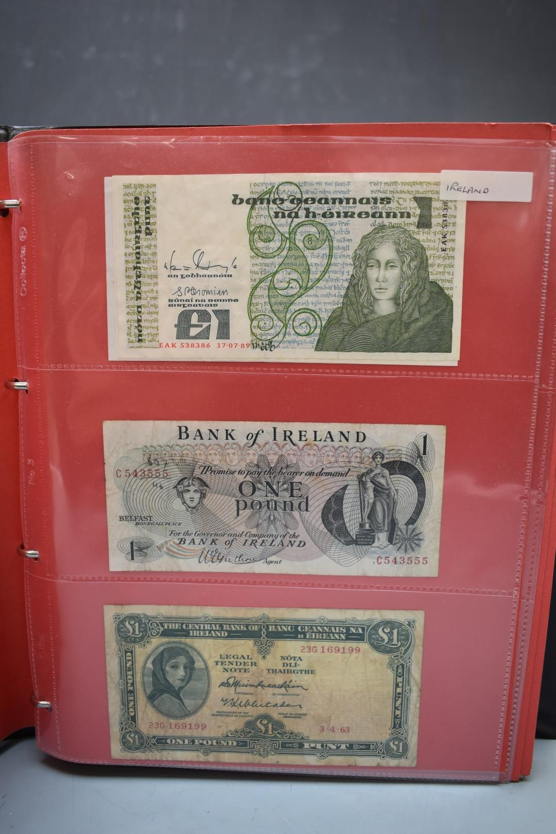 An amateur collection of world banknotes in two albums including Bank of Ireland, some used, many in - Image 8 of 13