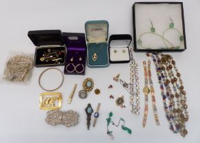 A collection of costume jewellery including agate and other necklaces, earrings, etc