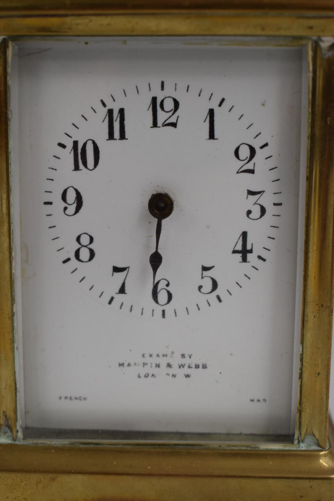 A c1900 brass French carriage clock, the enamel Arabic dial marked 'Exam'd by Mappin & Webb London', - Image 2 of 5