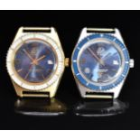 Two Gisa gentleman's diver's style wristwatches each with date aperture and blue dial, one with gold