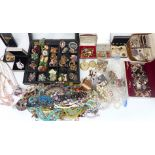 A collection of costume jewellery including earrings, brooches including vintage, micro mosaic,