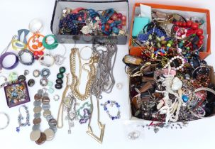 A collection of costume jewellery including necklaces, bracelets, etc