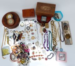 A collection of costume jewellery including Services pocket watch and wristwatch, brooches,