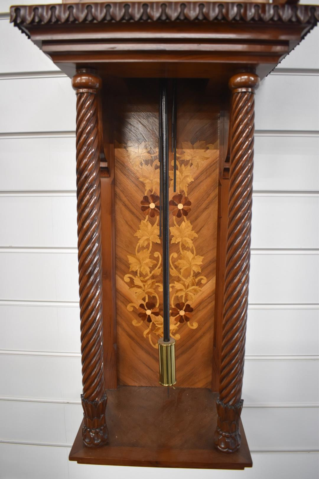 Late 20thC German pillar wall clock with three train chiming movement, carvedmarquetry inlaid - Image 3 of 4