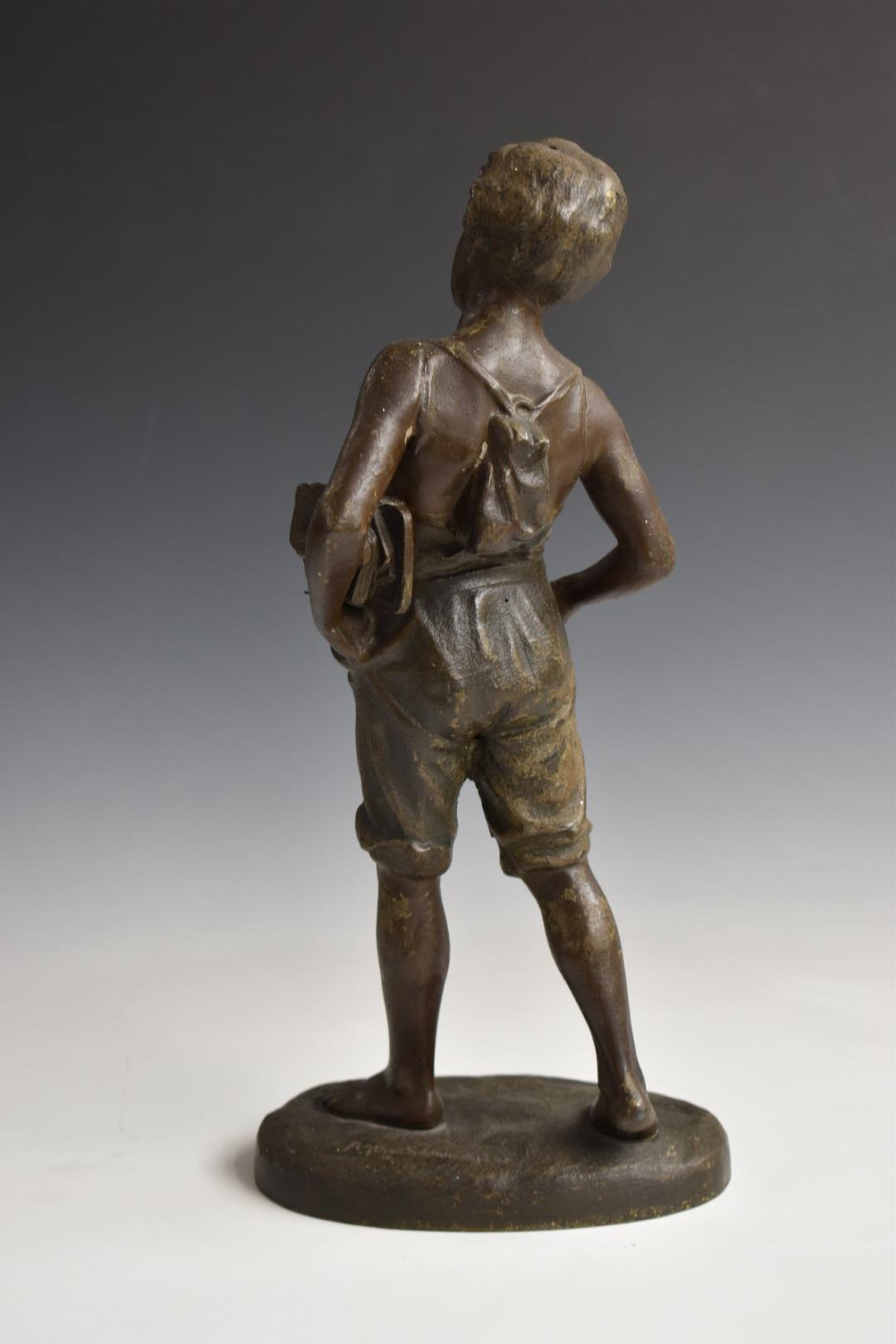 Pair of spelter figures of boys, one with books, the other with a horn, H33cm - Image 5 of 6