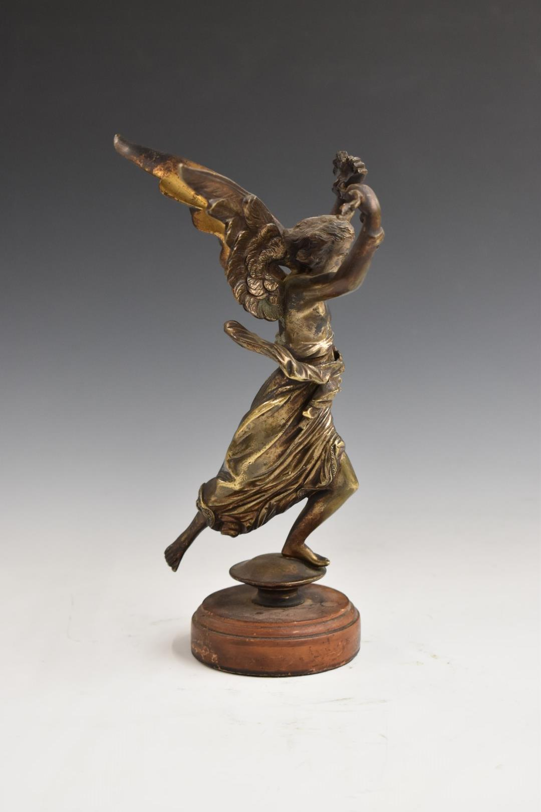 Bronzed winged lady with flowing robe, H 25cm, on turned wooden base, possibly originally a - Image 3 of 6