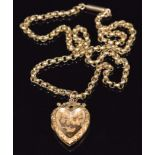 A 9ct gold necklace made up of faceted links and a 9ct back and front heart locket with swallow