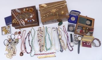 A collection of costume jewellery including earrings, beads, Art Deco necklace, etc