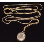Victorian 9ct gold guard chain made up of faceted links, with a Victorian locket set with hair and