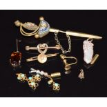 Two 9ct gold brooches, micro mosaic pin, loose seed pearls, loose turquoise links, pearl pendant,