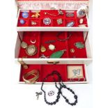 A collection of costume jewellery including Victorian mourning brooch, silver including paste set