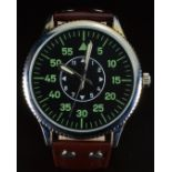 German Airforce military style gentleman's wristwatch with luminous hands, green Arabic numerals,