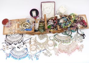 A collection of costume jewellery including necklaces
