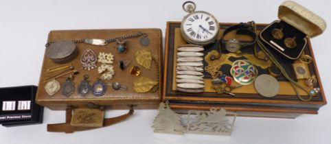 A collection of jewellery including Victorian stick pin and silver including pendants, Scottish Iona