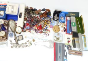 A collection of jewellery including silver cameo ring, brooches, necklaces including Corocraft and