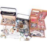 A collection of costume jewellery including cameo brooch, diamanté, rose quartz necklace, etc