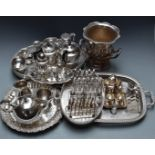 Silver plated ware to include wine cooler, H24cm, galleried Mappin and Webb candlesticks, salver,