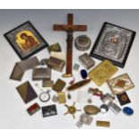 A collection of bijouterie including boxes, card cases, copper and silver inlaid Islamic brass