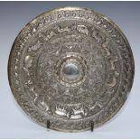 Sri Lanka white metal dish with embossed decoration of animals, marked KAA forKandyan Arts