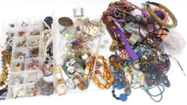 A collection of costume jewellery including Victorian brooch set with coral, aventurine quartz