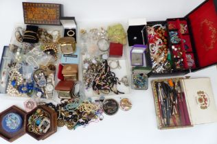 A collection of costume jewellery including Exquisite pendant, watches, vintage earrings, vintage