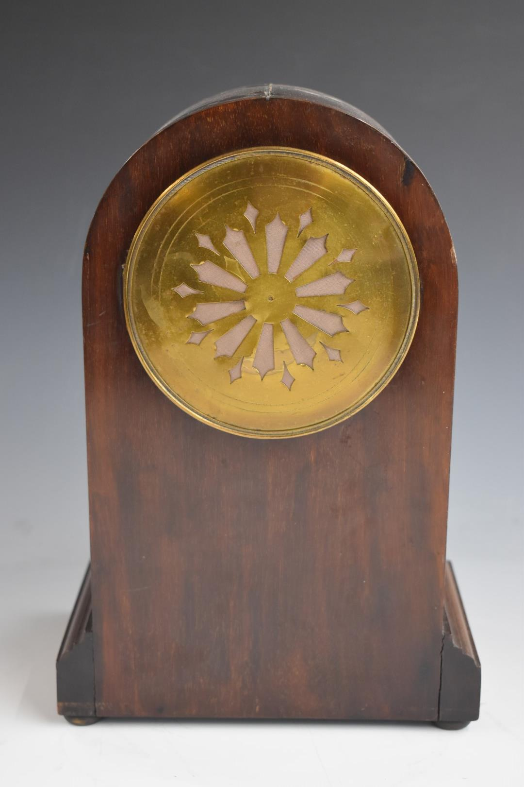 A c1900 mahogany carved arch top mantel clock, the anonymous two train movement stamped 3000, 52, - Image 4 of 5