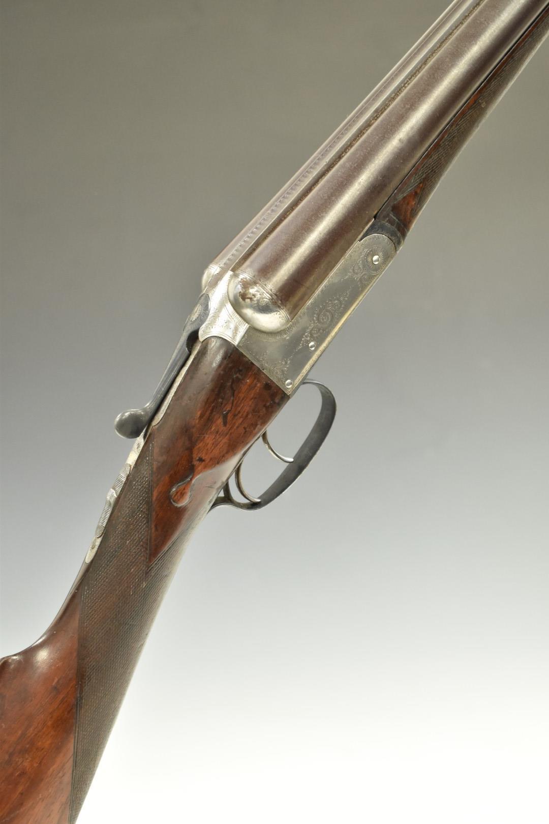 William P Jones 12 bore side by side shotgun with engraved lock, trigger guard, underside, fences,