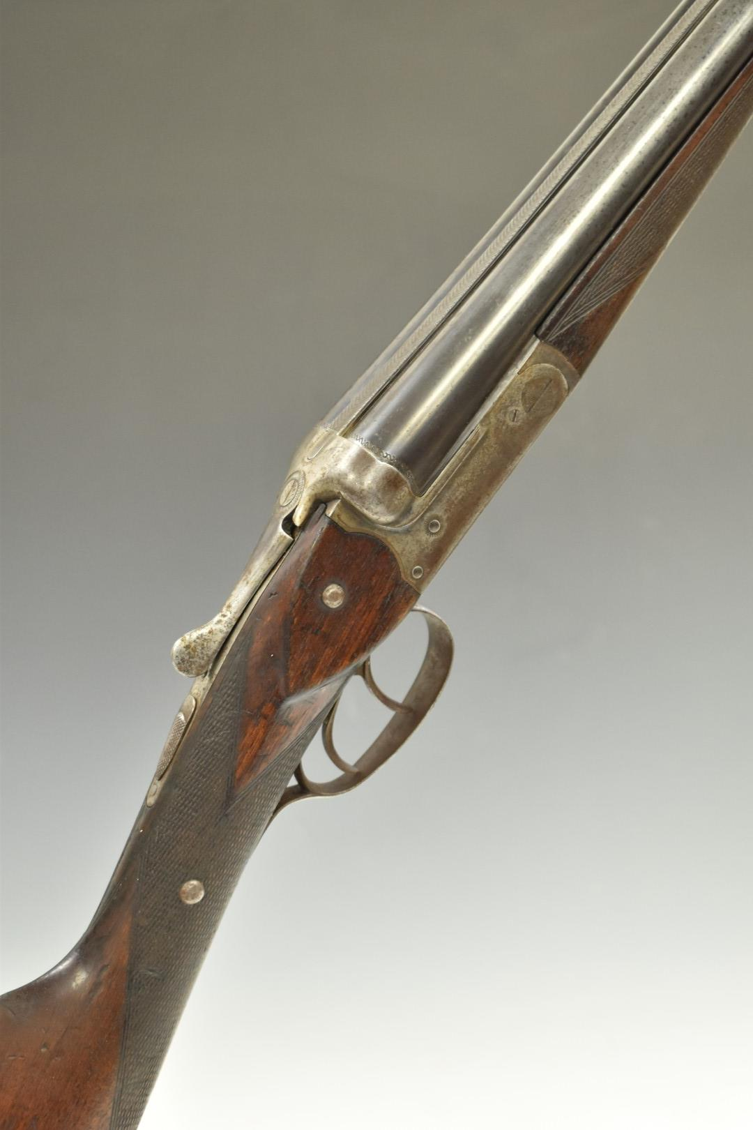 Belgian 20 bore side by side shotgun with chequered grip and forend, double trigger and 28 inch