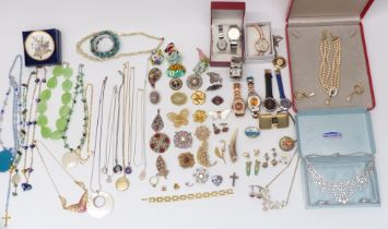 A collection of costume jewellery including Ciro, silver locket, vintage brooches, Raymond Weil