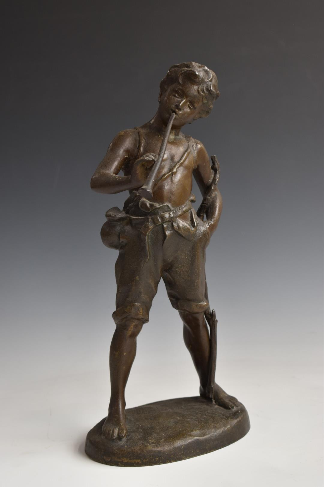 Pair of spelter figures of boys, one with books, the other with a horn, H33cm - Image 2 of 6